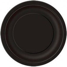 8 x Black Party Round Plates 23cm