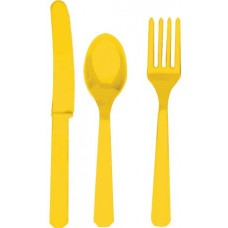 Yellow Plastic Cutlery Assorted Set (24 Piece)