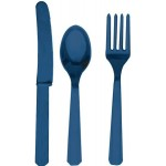 Navy Blue Plastic Cutlery Assorted Set (24 Piece)