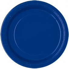 8 x Navy Blue Party Round Plates 23cm