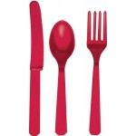 Red Plastic Cutlery Assorted Set (24 Piece)