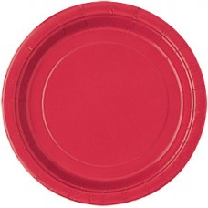 8 x Red Party Round Plates 23cm