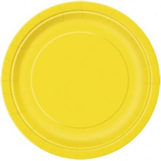 8 x Yellow Party Round Plates 23cm